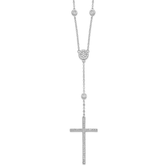 Rhodium-plated Sterling Silver CZ Cross Drop Necklace