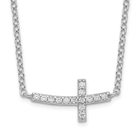 Rhodium-plated Sterling Silver CZ Sideways Cross w/2 inch ext Necklace