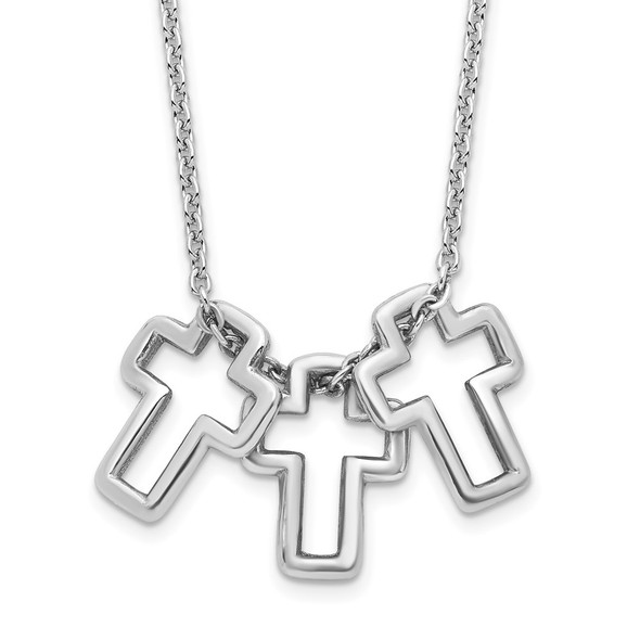 Rhodium-plated Sterling Silver 18in 3-Cross Necklace