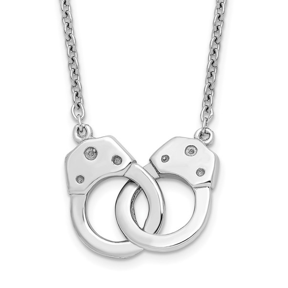 Rhodium-plated Sterling Silver Handcuff Necklace