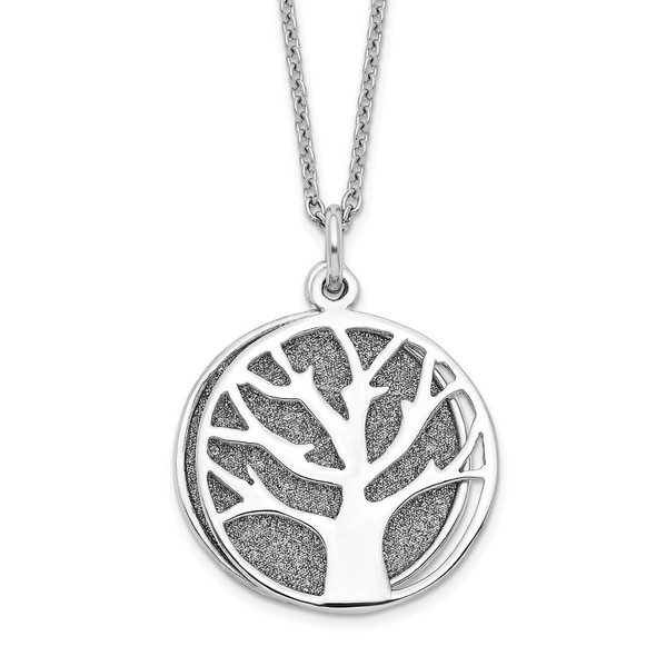Sterling Silver Rhodium-plated Enamel Glitter Fabric 2-piece Tree Necklace