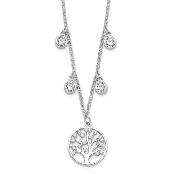 Rhodium-plated Sterling Silver CZ with Tree with 1in ext. Necklace