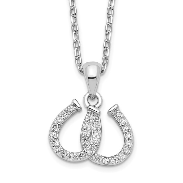 Rhodium-plated Sterling Silver CZ Double Horseshoe Necklace