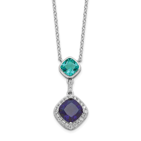 Rhodium-plated Sterling Silver CZ Glass Stone Dangle Pendant Necklace QG6160-18