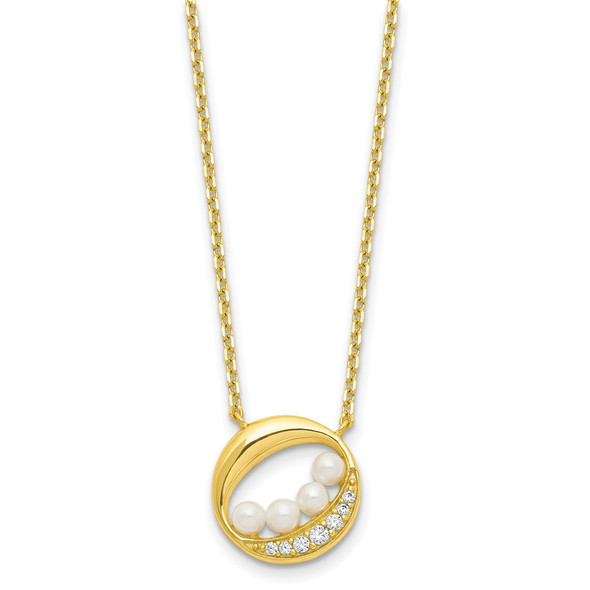 Sterling Silver Gold-tone CZ & Simulated Pearl 2in ext Necklace QG6194SET