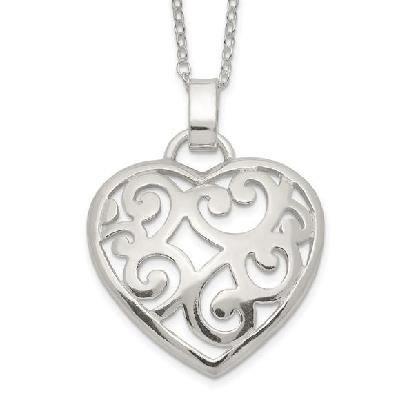 Sterling Silver Filigree Swirl Heart Necklace