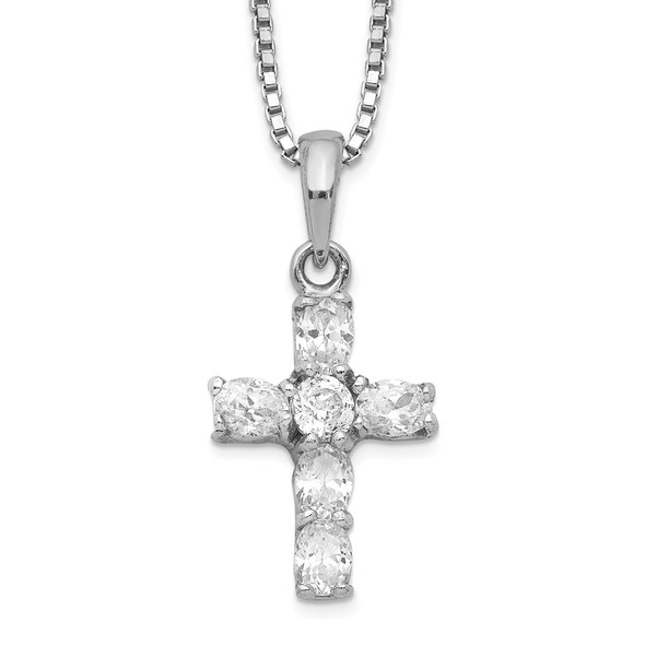 Rhodium-plated Sterling Silver CZ Cross Necklace