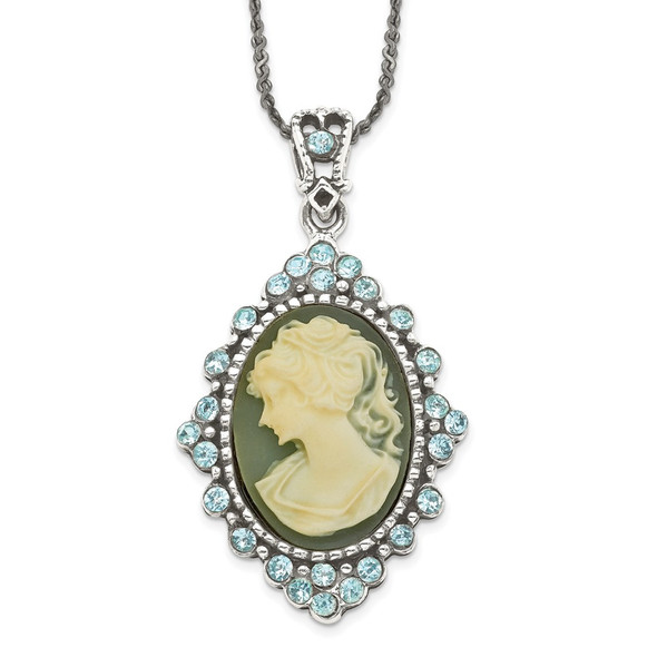 Sterling Silver Antiqued Blue Resin Cameo w/Crystal Necklace