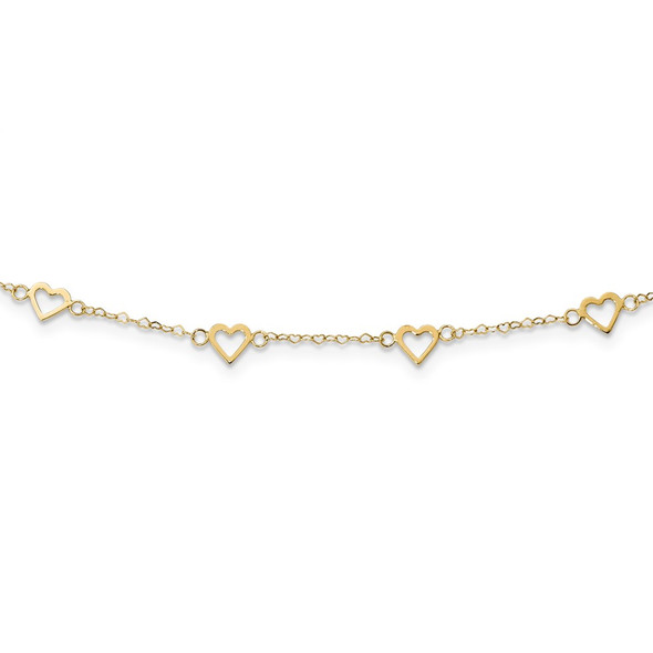 14k Yellow Gold Polished Open Hearts on Heart Link 17-Station Necklace