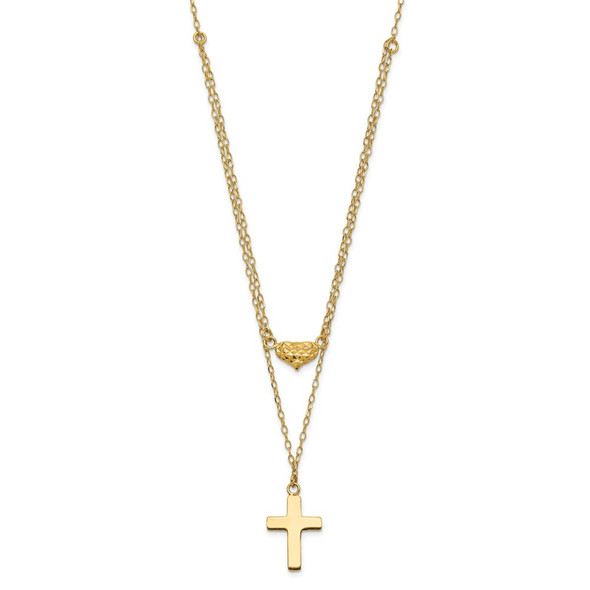 14k Yellow Gold Polished 2-Strand Diamond-cut Cross & Heart w/2in. Ext. Necklace