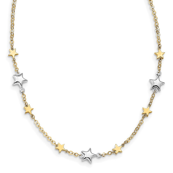 14K Two-tone Gold Stars w/1in ext. Necklace