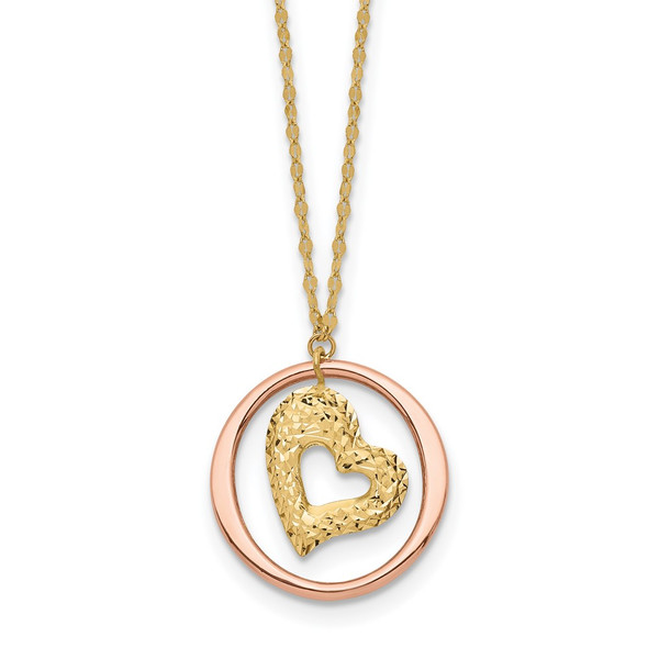 14K Two tone Gold Fancy Link Diamond-cut Heart in Open Circle Necklace