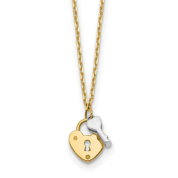 14k Two-tone Gold Heart Lock and Key Necklace