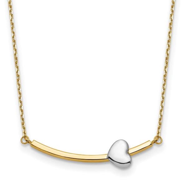 14k Two-tone Gold Heart Bar Necklace