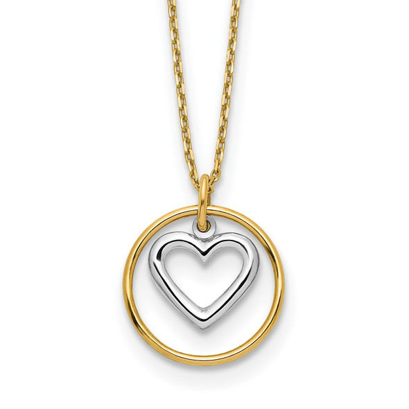 14k Two-tone Gold Heart in Circle Necklace