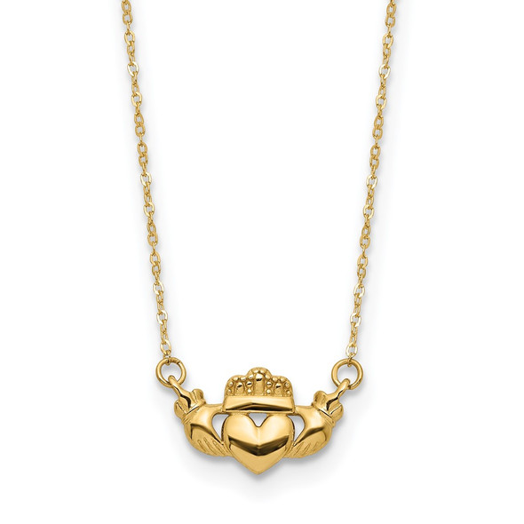 14k Yellow Gold Polished Claddagh 17in Necklace