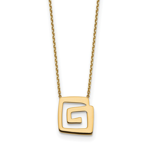 14k Yellow Gold Polished Fancy Design w/2 in ext. Necklace