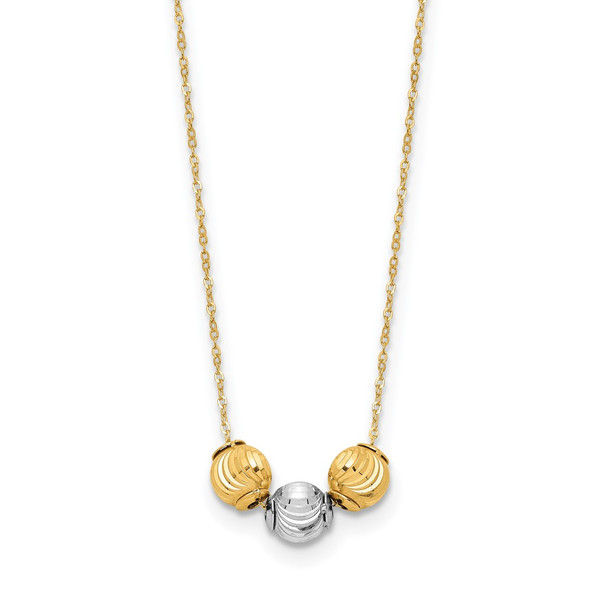 14K Two-tone Gold Polished Diamond-cut Beads 17in Necklace