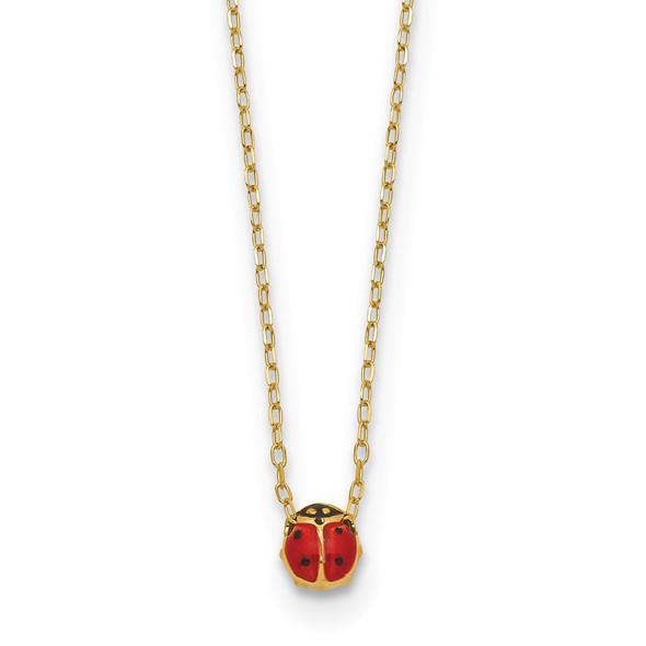 14k Yellow Gold Polished Enameled Small Ladybug 16.5in Necklace