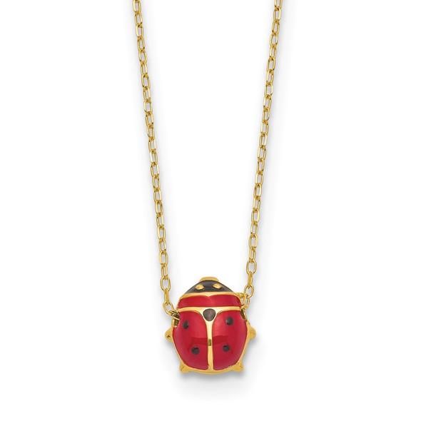 14k Yellow Gold Polished Enameled Large Ladybug 16.5in Necklace