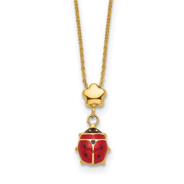 14k Yellow Gold Polished Enameled Flower with Ladybug 16.5in Necklace