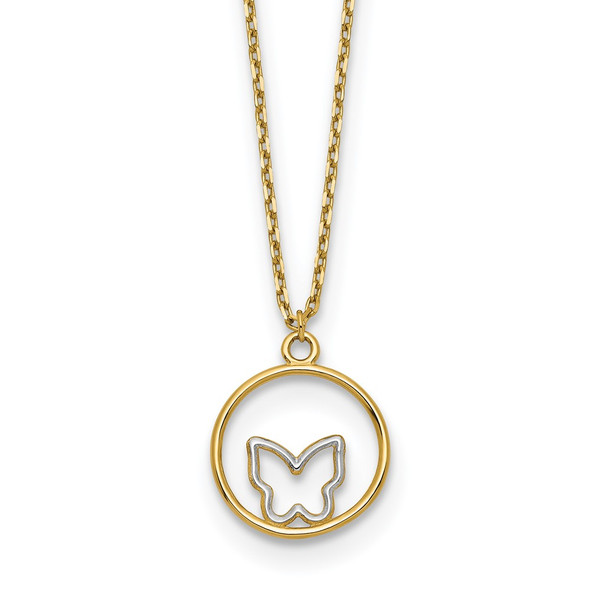 14k Yellow Gold w/ Rhodium Butterfly in Circle Necklace