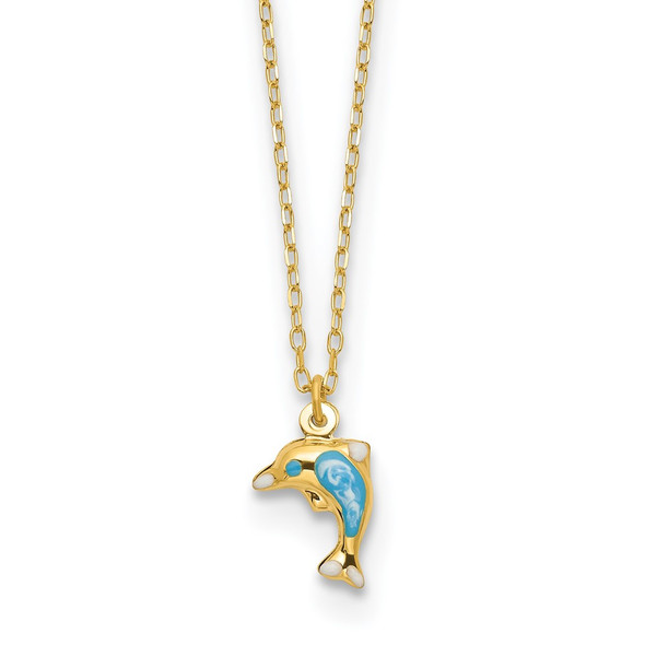 14k Yellow Gold Polished Enameled Dolphin 16.5in Necklace