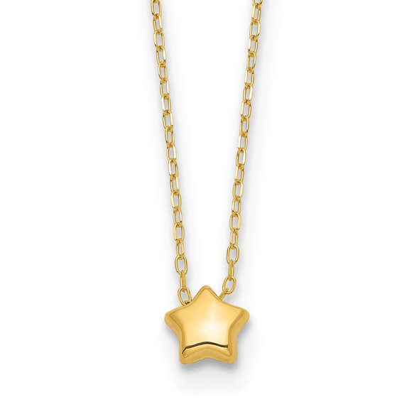 14k Yellow Gold Polished and Brushed Reversible Puffed Star 16.5in Necklace