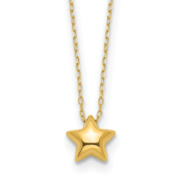 14k Yellow Gold Polished Puffed Star 16.5in Necklace SF2898-16.5