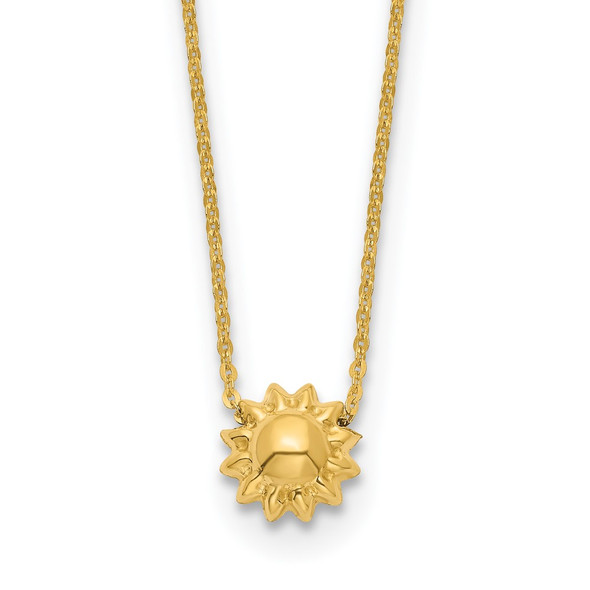 14k Yellow Gold Polished Puffed Sun 16.5in Necklace