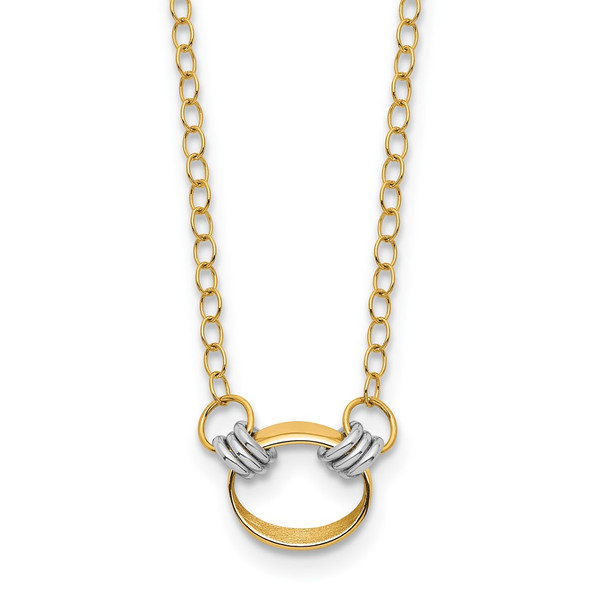 14K Two-tone Gold Polished and Satin Circle Necklace