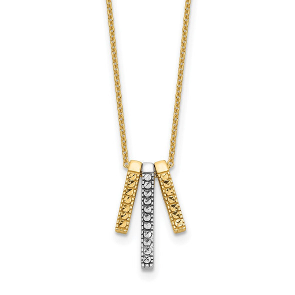 14K Two-tone Gold Polished Diamond-cut Bars 17in Necklace