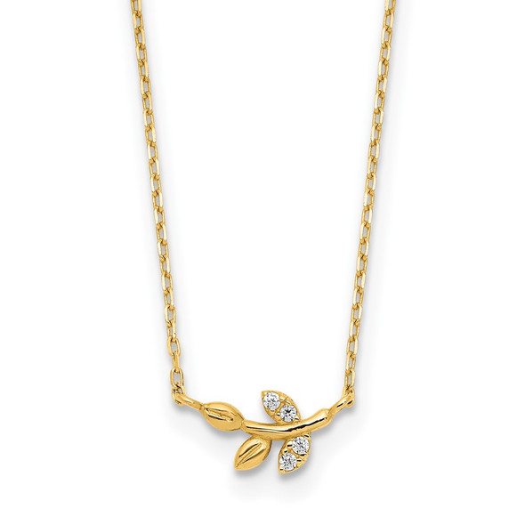 14k Yellow Gold Polished CZ Twig of Leaves w/1.25 in ext Necklace