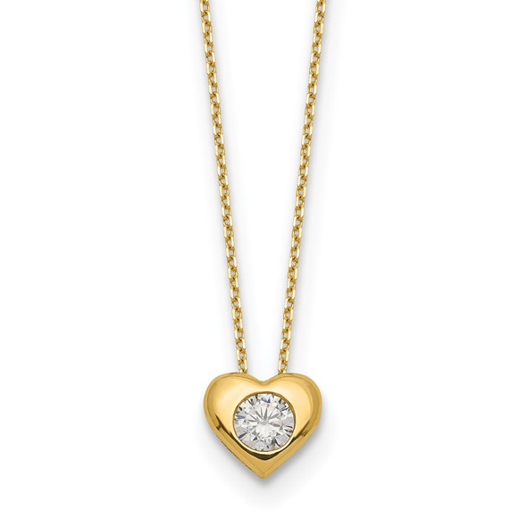 14k Yellow Gold Polished CZ Heart Slide Necklace