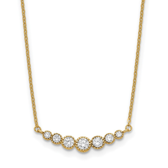 14k Yellow Gold Polished Graduated Round CZ 17in Necklace
