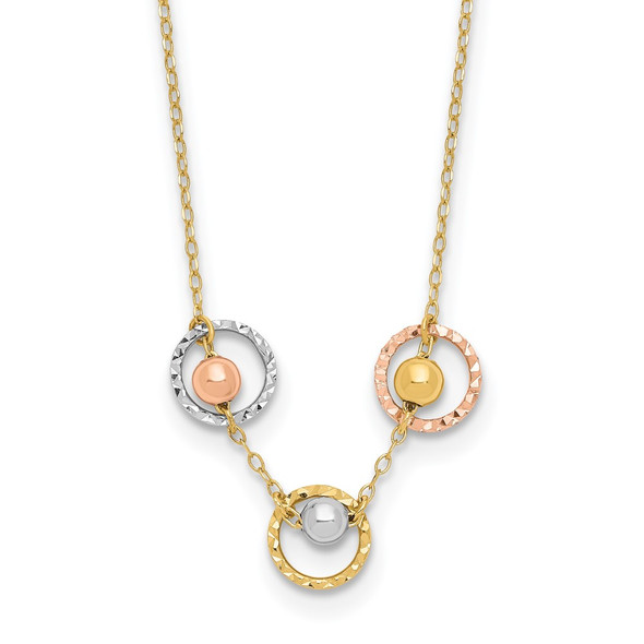 14K Tri-color Gold Polished Diamond-cut 3 Circle Beads Necklace