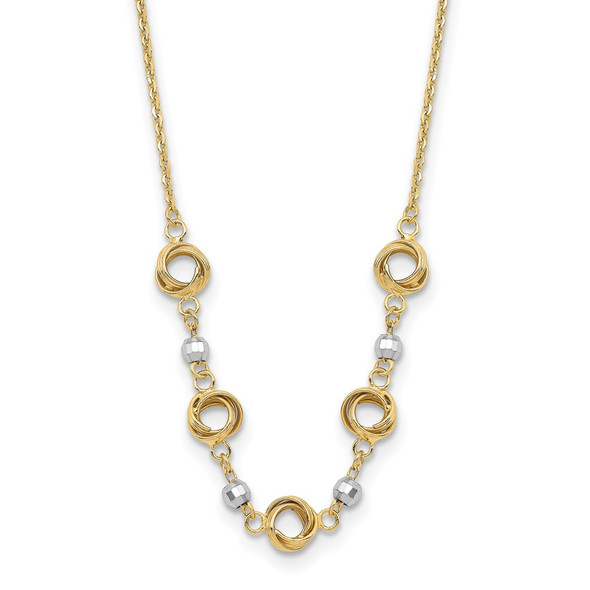 14K Two tone Gold 2 in Ext Polished Love Knots Diamond-cut Bead Necklace