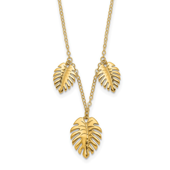 14k Yellow Gold Polished Dangle Palm Leaves Necklace