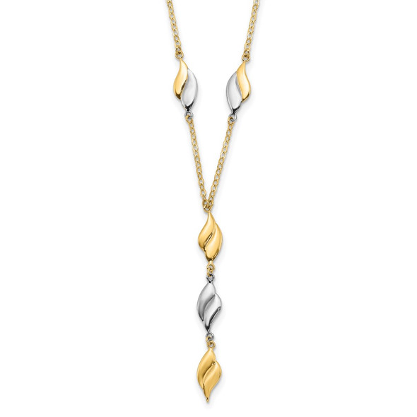 14K Two-tone Gold Polished Fancy Y Drop Necklace