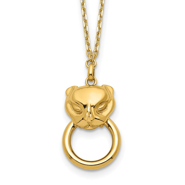 14k Yellow Gold Polished Cat Head Holding Ring Necklace