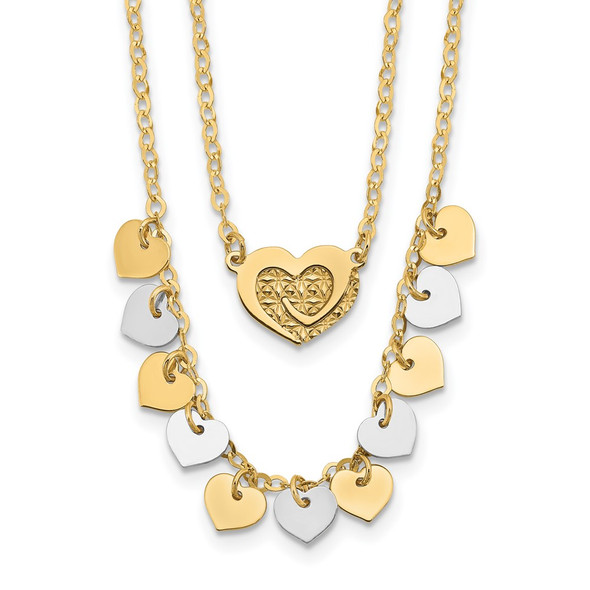 14K Two-tone Gold Polished Double Strand with Hearts Necklace