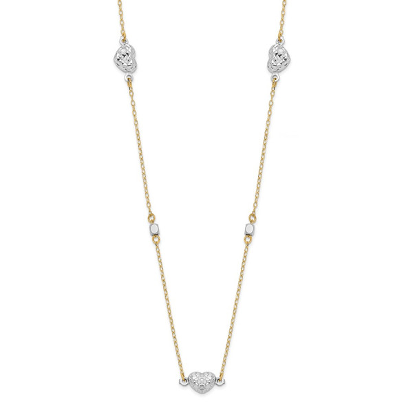 14K Two tone Gold Polished Diamond-cut Hearts Necklace
