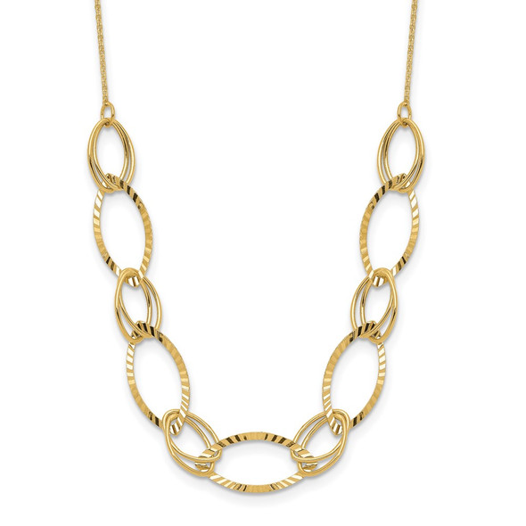 14k Yellow Gold Polished Diamond-cut Oval Link Necklace