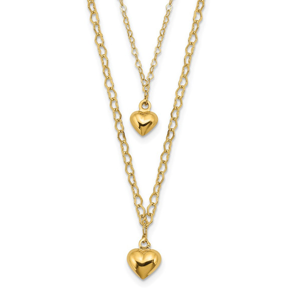 14k Yellow Gold Double Layer Heart Link Polished Hearts 2 in ext. Necklace
