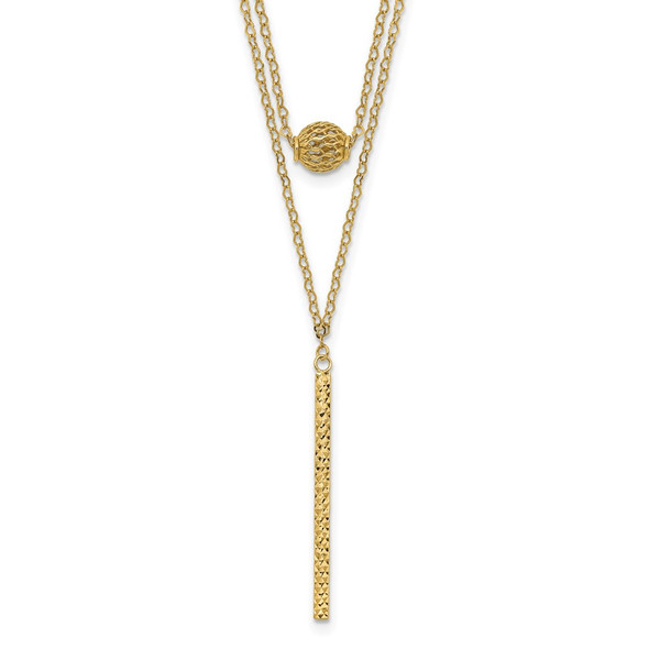 14k Yellow Gold Double Layer Hollow Bead Diamond-cut Bar 2 in Necklace