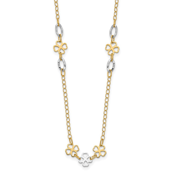 14K Two-tone Gold Diamond-cut Polished Flower Necklace