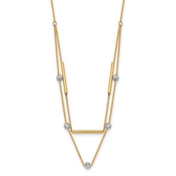 14K Two-tone Gold Diamond-cut Beads Fancy 17in Necklace