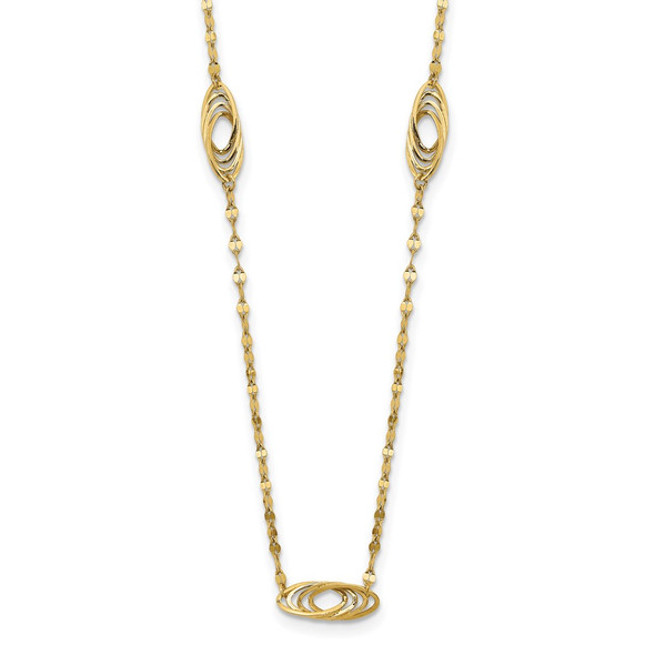 14k Yellow Gold Polished Fancy Link Oval Decorative Oval Links Necklace