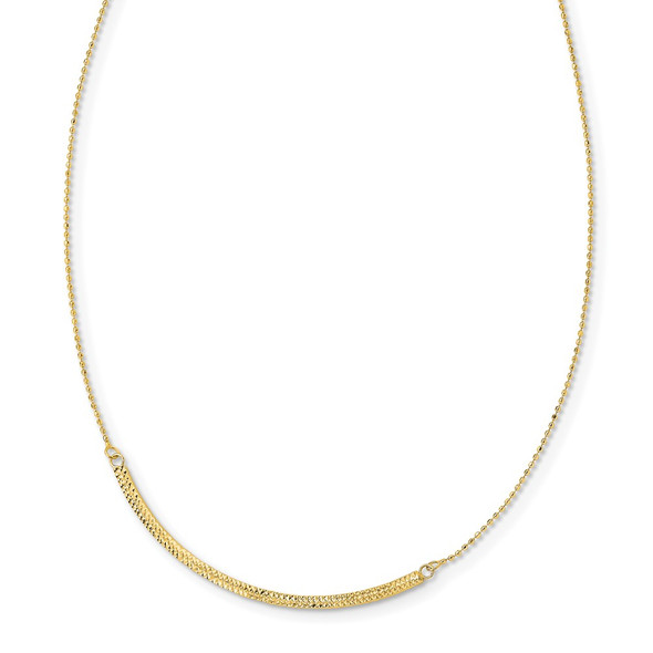 14K Tri-color Gold Diamond-cut Curved Bar Adjustable Up to 33in Necklace