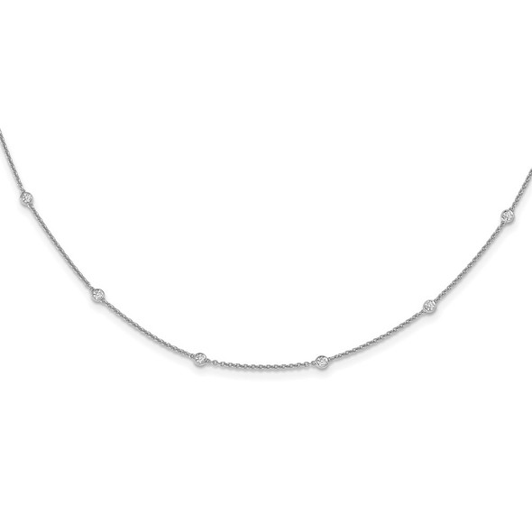 14k White Gold Diamond Station Cable Necklace PM1007-036-WA-16